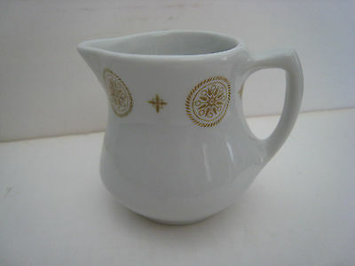 Shenango Mini Creamer Restaurant Ware;83; O-23, Gold-Colored Round Design at Top