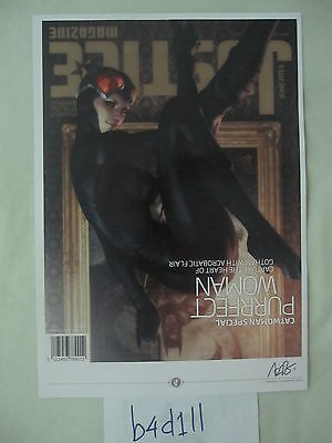 """SIGNED Stanley Lau """"ARTGERM"""" ART PRINT - Sexy Catwoman Justice Magazine"""