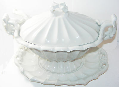 vintage SOUP TUREEN platter & spoon RED-CLIFF Ironstone LARGE excellent