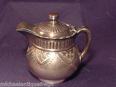 Esthetic Antique Pairpoint Silver Plated Covered Cream Jug / Pitcher