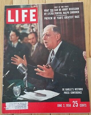 Life Magazine June 2 1958 De Gaulle Press Conference Greatest Race Recession