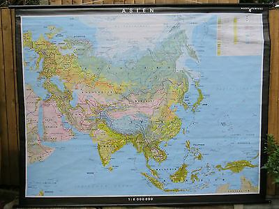 Stunning Very Large Vintage Pull Roll Down School Map Asia Thailand Laos China