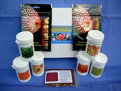 Discus delights fish food hamper & 2 x Kusuri Wormer Plus 20g deal.