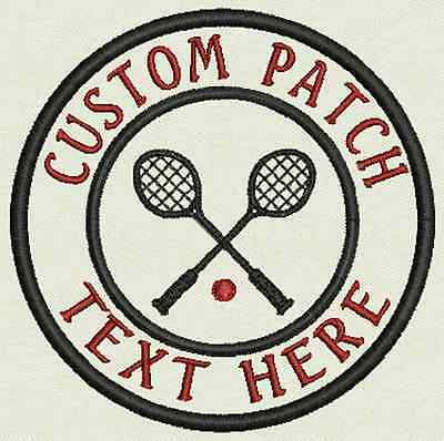 Tennis Custom Embroidered Tag, Patch, Badge Iron On or Sew On - 3.50""