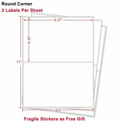 Round Corner 1000 Half Sheet Shipping Labels 8.5x5.5 Self Adhesive For USPS