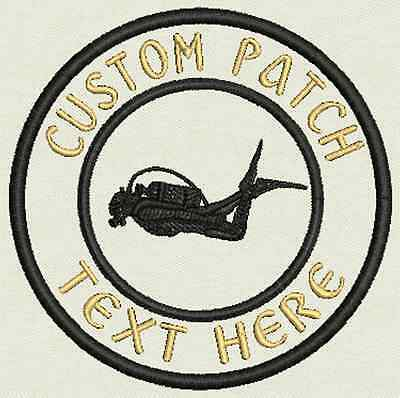 Scuba Custom Embroidered Tag, Patch, Badge Iron On or Sew On - 3.50""