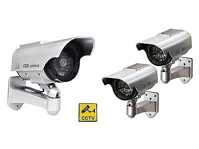 3 x Solar Powered Dummy Security Cameras - Complete with Red LED lights