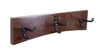 Arts and Crafts / Mission 18 Inch 3 Cast Iron Hook Coat Rack