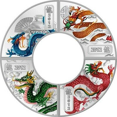 Cook Islands 2012 4x1 Dollar Lunar The Year of the Dragon 4x1/2 Oz Silver Proof