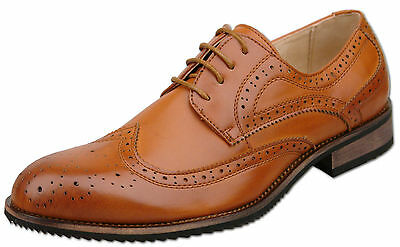 Mens New Tan Brown Leather Lined Lace Up Brogue Shoes Size 6 7 8 9 10 11 12 13
