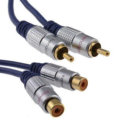 3m Pure OFC HQ 2 x RCA Phono Extension Plug to Socket Audio Cable Gold [007462]