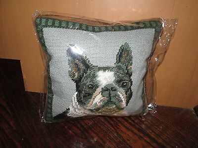 BOSTON TERRIER  Dog Handmade Needlepoint Pillow 10 by 10  NWT