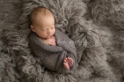 Oyster Grey Alpaca Faux Fur Photo Prop Newborn Nest 18 x 30 Inches Photography