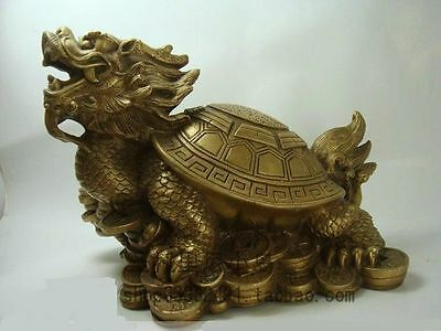 Old lucky famous brass Fengshui Dragon Turtle Statue