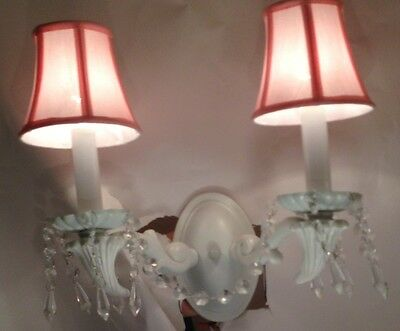 WROUGHT IRON CHANDELIER LIGHTING COUNTRY CRYSTAL LIGHT FIXTURE WALL SCONCE PINK