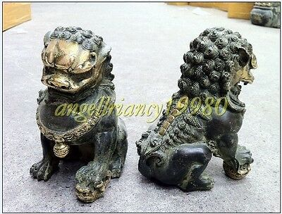 Collectables! Door fengshui Bronze Guardion Lion Foo Fu Dogs Statues