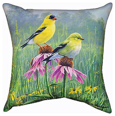 """Decorative Pillows - Goldfinch In Garden Pillow - 18"""" Square - Indoor Outdoor"""
