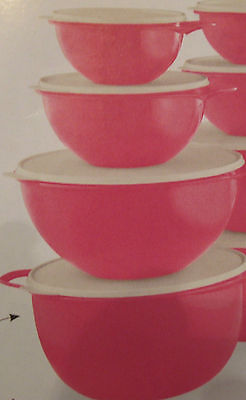 Tupperware Thatsa bowls 5 pc Set 42,32,12 , 6 and  2 1/2 cups Color Pink /blue