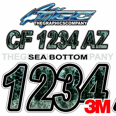 Sea Bottom Custom Boat Registration Numbers Decals Vinyl Lettering Stickers USCG