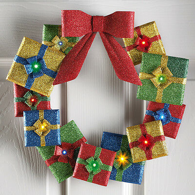 Christmas Lighted Gift Boxes Glittery Wreath Battery Operated Xmas Door Decor