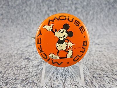 1928 to 1930s Vintage Mickey Mouse Club Pinback, Pin, Button ( VERY RARE )