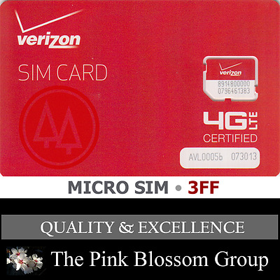 VERIZON MICRO 3FF SIM Card • CDMA 4G LTE • NEW Genuine OEM • Prepaid or Contract