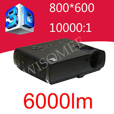 6000 ANSI Lumens Contrast 10000:1 DLP Projector 800*600 Native Real 3D Projector