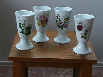 Limoges Vases, Set of 4 Flower Patterned