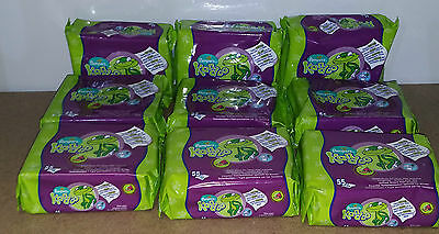 PAMPERS KANDOO TOILET WIPES REFILL PACKS  x 9 PACKS MELON FRAGRANCE