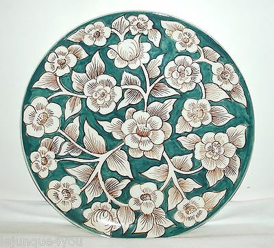 Vintage Green & White Dogwood Floral Platter, Made In Portugal, Hand Painted,