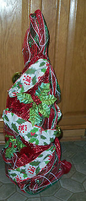 New 2 Ft Tabletop Red Ribbon Christmas Tree Decoration Green + Red