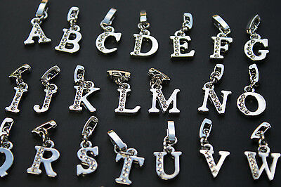 Silver Plated Alphabet Letter Initial Clip On Charms for Bracelets / Jewellery