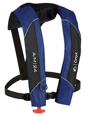 132000-500-004-15 Onyx Outdoor A/M-24 Auto/Manual Inflate Life Jacket Blue