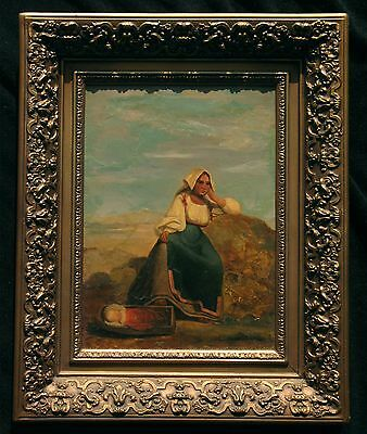 Antique Oil painting Mother and Child signed Visone Roma orig. frame!!