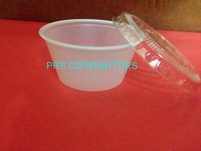 2 Oz. Jello Souffle Cups Plastic Portion Cups Plastic Cups 50 SETS with Lids