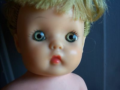 """ADORABLE Vintage HORSMAN Eegee 13"""" Vinyl Stuffed BABY DOLL 1950's Ruthie Face"""