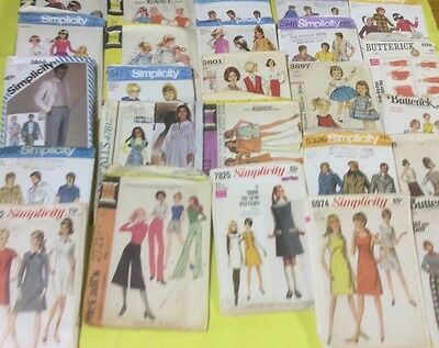 Lot of 25 Vintage Sewing Patterns Butterick McCalls Simplicity