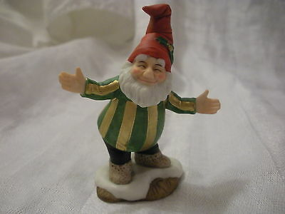 Fitz & Floyd Figurine, Welcoming Elf, Holiday Hamlet, 1993, Red Hat Holly