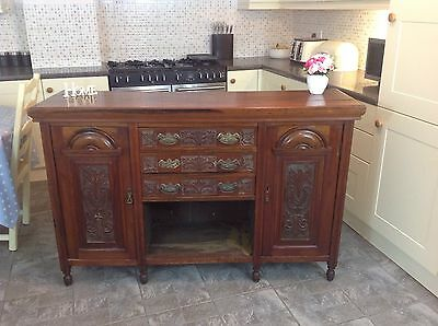 Antique Victorian Carved Sideboard / Cabinet/ With Three Drawers & Two Cupboards
