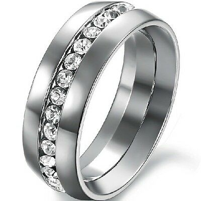 Size 5-15 8MM White Gold Stainless Steel Wedding Engagement Ring Band CZ Filled