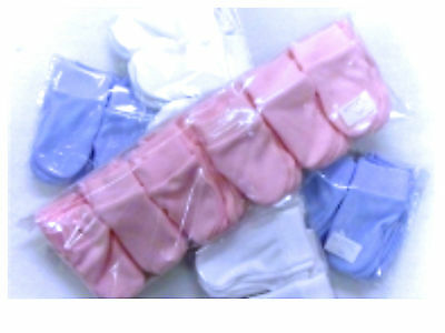 Early baby/Prem scratch mitts 2 pair pack  pink or white or blue 100% cotton