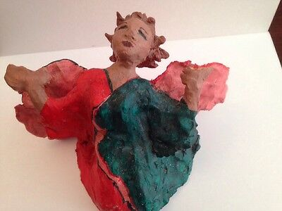 Vintage HAND-CRAFTED ANGEL. FOLK ART Made From CLAY!