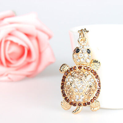 Tortoise Charm Pendant Rhinestone Crystal Purse Bag Key Ring Chain Creative Gif