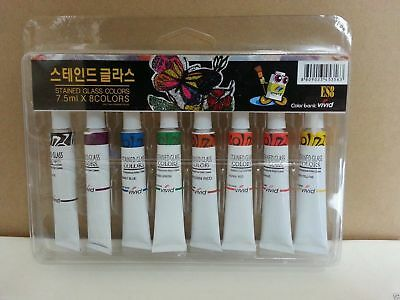 Stained Glass Tubes Paint 8 colors Set / Tube Painting Kit 7.5ml