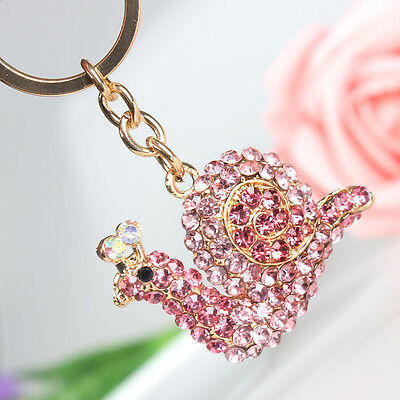 New Pink Snail Charm Lovely Pendant Rhinestone Crystal Purse Bag Key Ring Chain