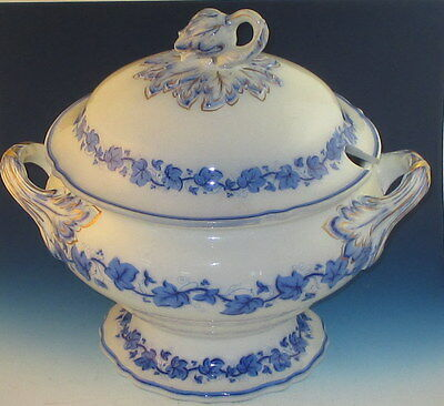 "Antique Staffordshire ""Ivy Leaf"" Soup Tureen Thomas Dimmock Pearl Ware c1850"