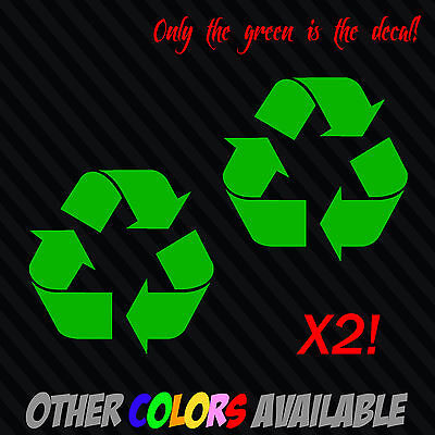 (x2) RECYCLE logo Vinyl Decal Sticker Car Window Wall Renew Reuse Go Green
