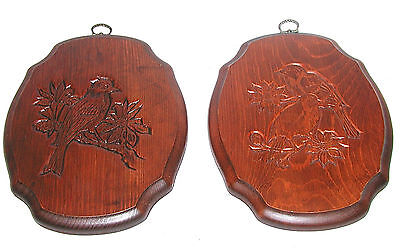 Set 2 vintage solid wood hand carved wall plaques pictures BIRDS Mid Century