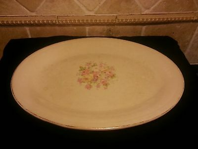 Vintage Semi Vitreous Pink Floral Platter by Edwin M. Knowles China Co.