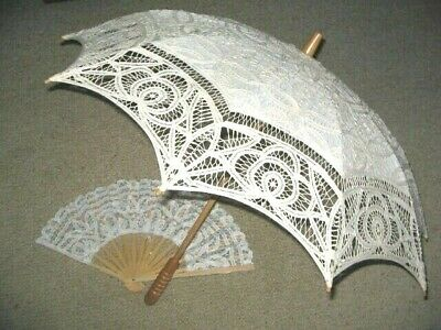 Bamboo Personal Fan & Parasol Umbrella With Cotton Lace Fabric Feminine Elegant